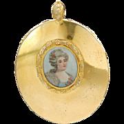 Antique Georgian Pendant with Hand Painted Portrait & Woven Hair in Original Case