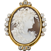 Antique Victorian 14k Gold Diamond & Pearl High Relief Cameo Pin or Pendant
