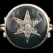 14k Gold Diamond & Bloodstone Star Ring, Antique Stick Pin Conversion Ring