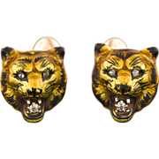 Antique 14k Gold Tiger Cufflinks, Art Nouveau Enamel Diamond Cufflinks by Alling & Co.