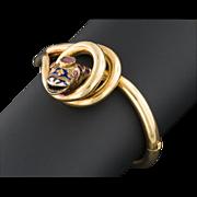 Antique Victorian 18k Gold Garnet & Enamel Snake Bracelet, Bangle Bracelet
