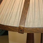 Unusual Oak Wood Floor Lamp with Oak Framed Shade