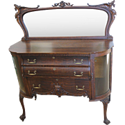 Fancy Ornate Oak Sideboard