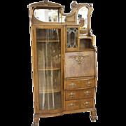 Fancy Oak Secretary Bookcase