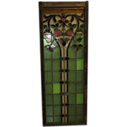 REDUCED Early Tall Stained Glass Window