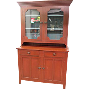 Mennonite Dish Cupboard in original red and blue paint 1880's