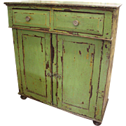 Original Primitive Green Painted Jelly Cabinet