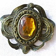 Antique Brass and Topaz Amber Color Glass Brooch Pin