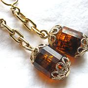 Vintage Sarah Coventry Golden Lantern Dangle Earrings