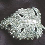 Vintage Leaf Rhinestone Pin Brooch