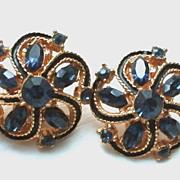 Vintage Pinwheel Enamel and Rhinestone Clip Earrings