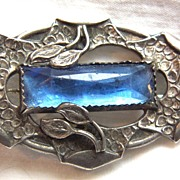 Victorian Arts and Craft 800 silver and paste stone pin brooch