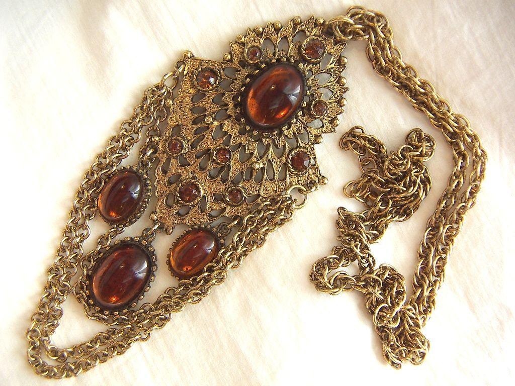 Vintage chunky glass cabochon pendant