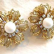 Vintage signed Kramer rhinestone snowflake flower clip earrings