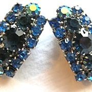 Vintage blue rhinestone clip back earrings