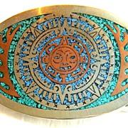 Vintage signed Mexico Aztec sun buckle