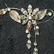 Vintage signed Krementz floral flower pin brooch pendant