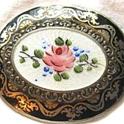 Vintage hallmarked vermeil guilloche enamel brooch pin