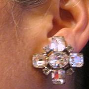 Vintage rhinestone snowflake clip back earrings