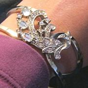 Vintage rhinestone clamper bracelet
