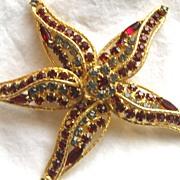Vintage rhinestone figural starfish brooch pin