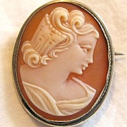 Antique Marked Silver Cameo Brooch Pin Pendant