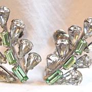 Vintage Carl-Art sterling rhinestone screw back earrings