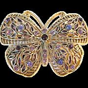 Vintage rhinestone enamel butterfly pin brooch
