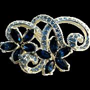 Vintage blue rhinestone flower pin brooch