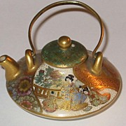 Miniature Japanese Satsuma Ceramic Teapot Signed Doll Size