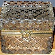 Crystal Casket Box Diamond Cut Art-Deco-Design Large