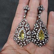 Victorian Pendeloque French 935 Sterling Silver Paste Long Dangle Earrings