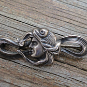 Art Nouveau Sterling Silver Bar Pin Lady Profile with Flowing Hair