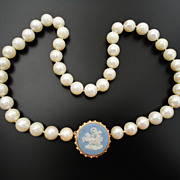 Vintage 9 - 8.5 mm Large Cultured Pearls Necklace 14K Wedgwood Clasp