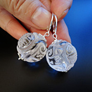 Carved Chinese Rock Crystal Sterling Silver Dangling Earrings