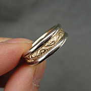 Vintage Hand Crafted Two Tone 14 kt Yellow & White Gold Wedding Band Ring 8.1 Grams