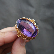 Stunning Vintage Hand Crafted Natural Amethyst Ring Ornate 14K Settings