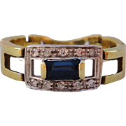 Vintage 18K Two Tone Gold Natural Blue Sapphire & Diamond Ring Flexible Band