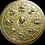 SOLD Vintage French Gilt Metal Powder Box Repousse