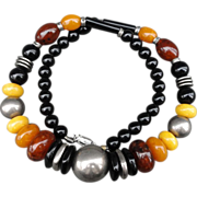 Quality Costume Jewelry Silver Plate Faux Amber Necklace
