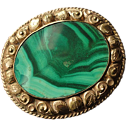 Early Victorian Rolled Gold malachite Pin Brooch