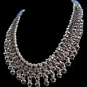 C1870 Bohemian Garnet Silver Necklace Aesthetic Movement