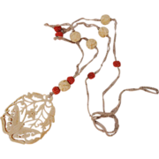 Art Deco Chinese Genuine Coral Seed Bead Macrame Necklace with Bone Pendant