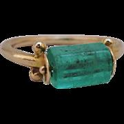 Unique 14K Natural Emerald Swivel Ring Size 7 MMA