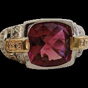 SALE Designer 14K White Gold Diamond Ring with Raspberry Pink Tourmaline 4 1/4 Carats