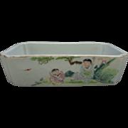 SOLD Antique Chinese Hong Xian Early Republican Porcelain Bonsai Planter Family Verde