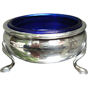 Quality Sterling Silver Footed Salts with Blue Cobalt Glass Insert