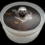 SALE C1920 English Birmingham Sterling Silver Lid Cut Crystal Vanity Powder Jar