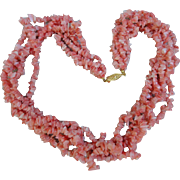 """Highly Collectible Vintage Genuine Pink Angle Skin Coral Torsade Necklace 20"""""""