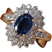 SALE Designer 2 Carats Srilankan Royal Blue Sapphire Diamond 14K Yellow Gold Lady's Ring Halo
